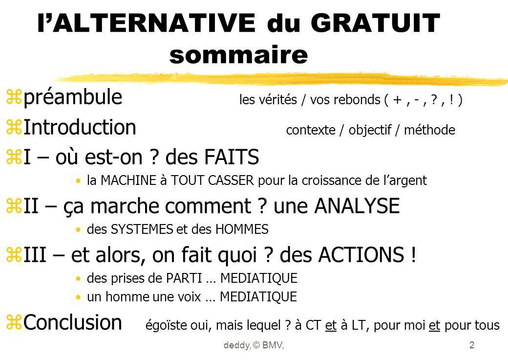 lALTERNATIVE du GRATUIT sommaire zpréambule les vérités / vos rebonds ( +, -, ?, .