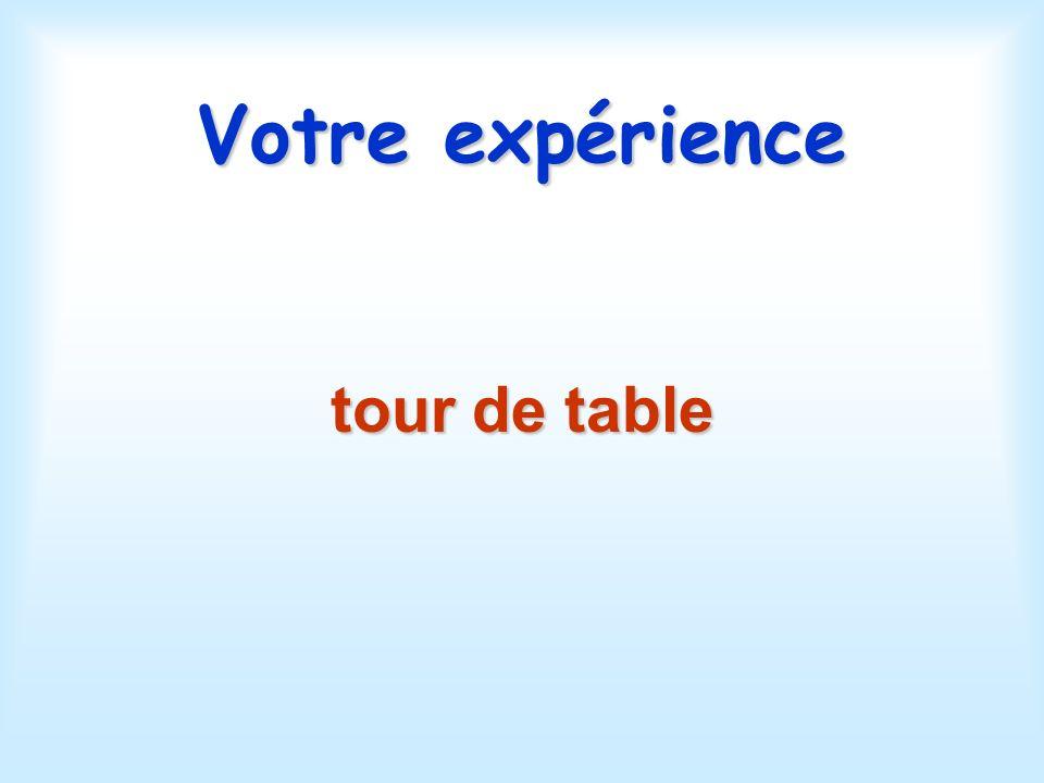 Votre expérience tour de table