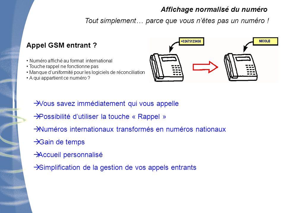 Affichage normalisé du numéro Tout simplement… parce que vous nêtes pas un numéro ! Appel GSM entrant ? Numéro affiché au format international Touche