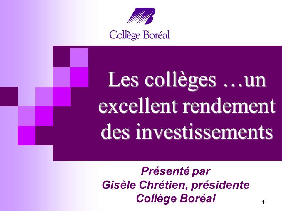 1 Les collèges …un excellent rendement des investissements Présenté par Gisèle Chrétien, présidente Collège Boréal