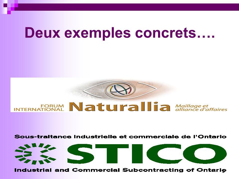 10 Forum international Naturallia… Nouvelle perspective daffaires Forum de type maillage entre les entreprises du Nord et les entreprises des cinq continents Partenariat entre lOntario et le Québec Financé par les gouvernements du Canada, du Québec et de lOntario