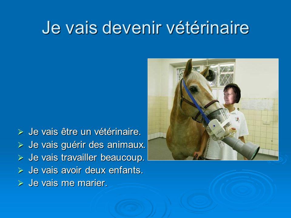 Je vais devenir vétérinaire Je vais être un vétérinaire. Je vais guérir des animaux. Je vais travailler beaucoup. Je vais avoir deux enfants. Je vais