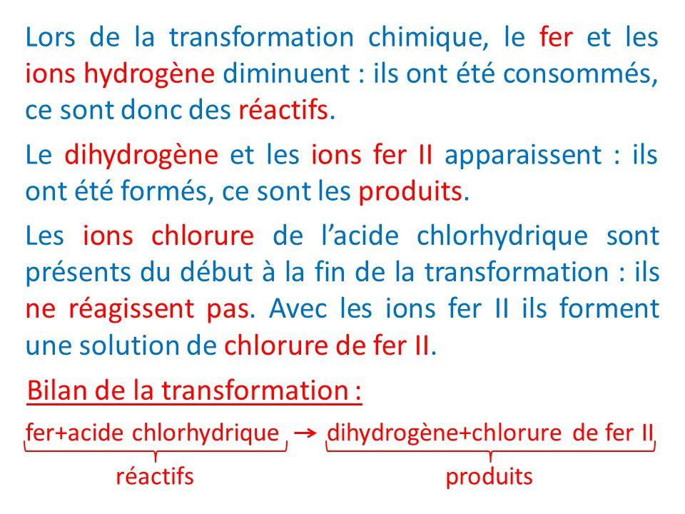 Lors de la transformation chimique, le fer et les ions hydrogène diminuent : ils ont été consommés, ce sont donc des réactifs. Le dihydrogène et les i