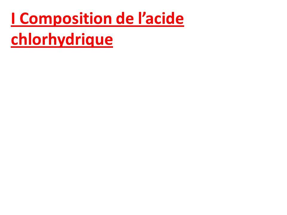 I Composition de lacide chlorhydrique