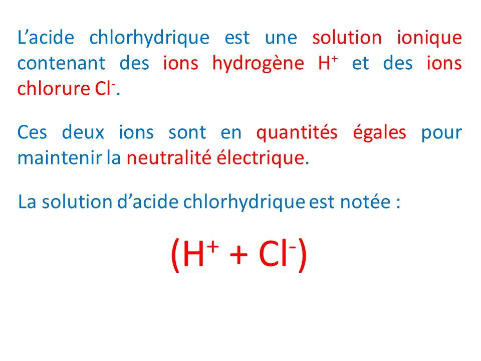Lacide chlorhydrique est une solution ionique contenant des ions hydrogène H + et des ions chlorure Cl -. Ces deux ions sont en quantités égales pour