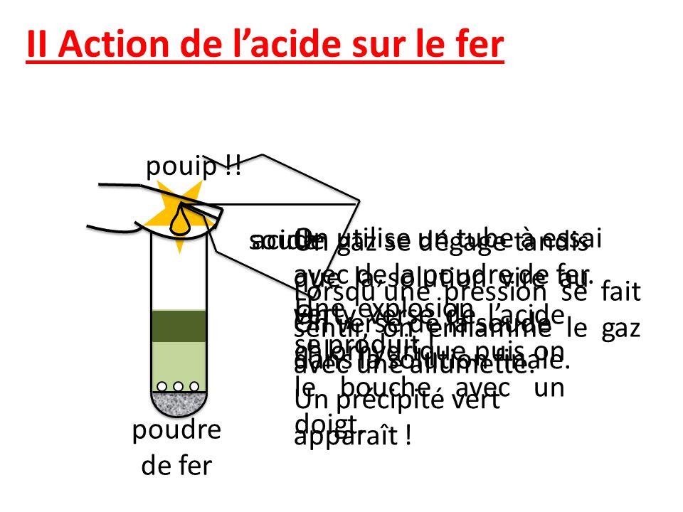 II Action de lacide sur le fer pouip !! On utilise un tube à essai avec de la poudre de fer. On y verse de lacide chlorhydrique puis on le bouche avec