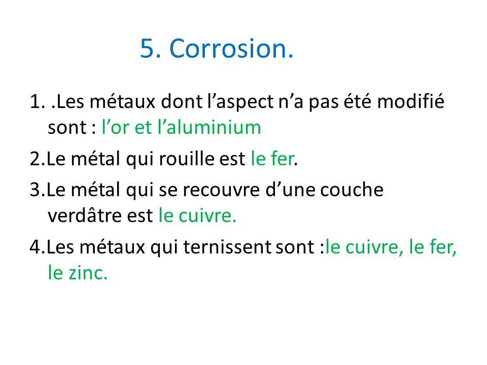 5. Corrosion. 1..Les métaux dont laspect na pas été modifié sont : lor et laluminium 2.Le métal qui rouille est le fer. 3.Le métal qui se recouvre dun