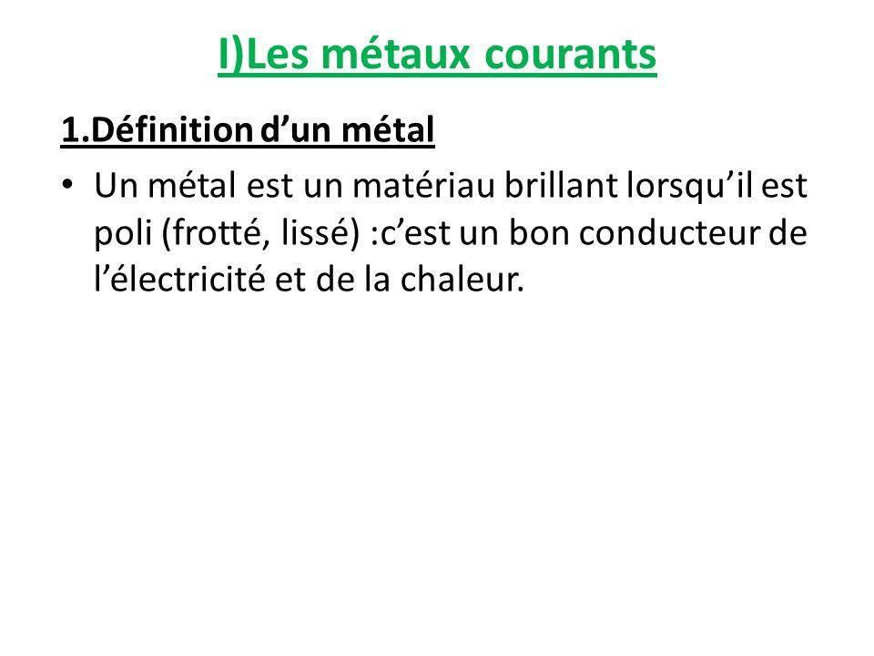 I)Les métaux courants 1.Définition dun métal Un métal est un matériau brillant lorsquil est poli (frotté, lissé) :cest un bon conducteur de lélectrici