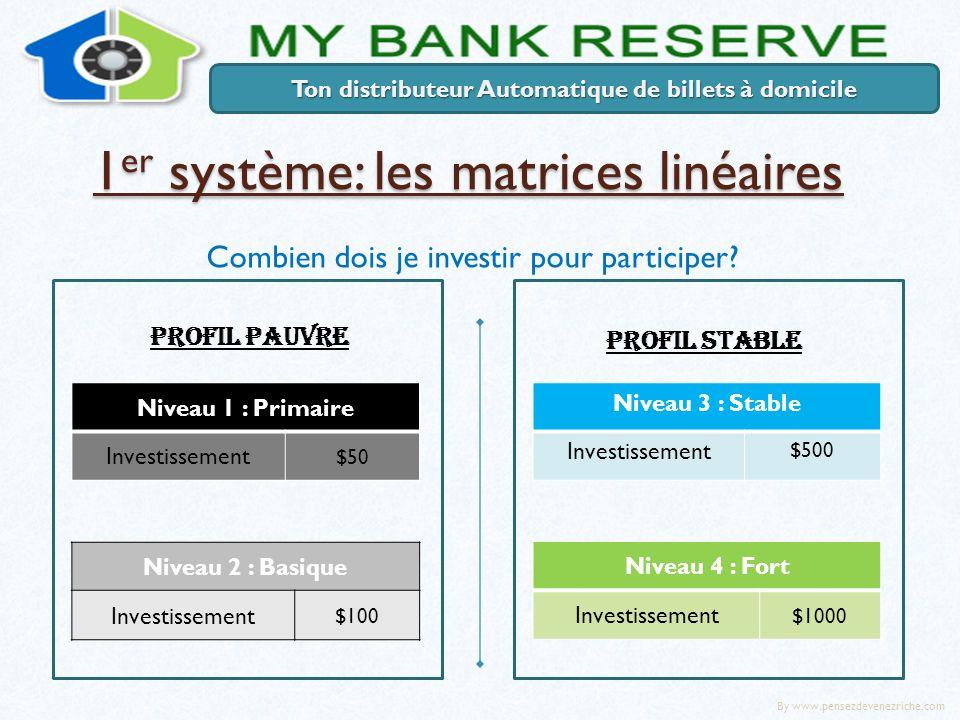 1 er système: les matrices linéaires Ton distributeur Automatique de billets à domicile Combien dois je investir pour participer? PROFIL STABLE Niveau