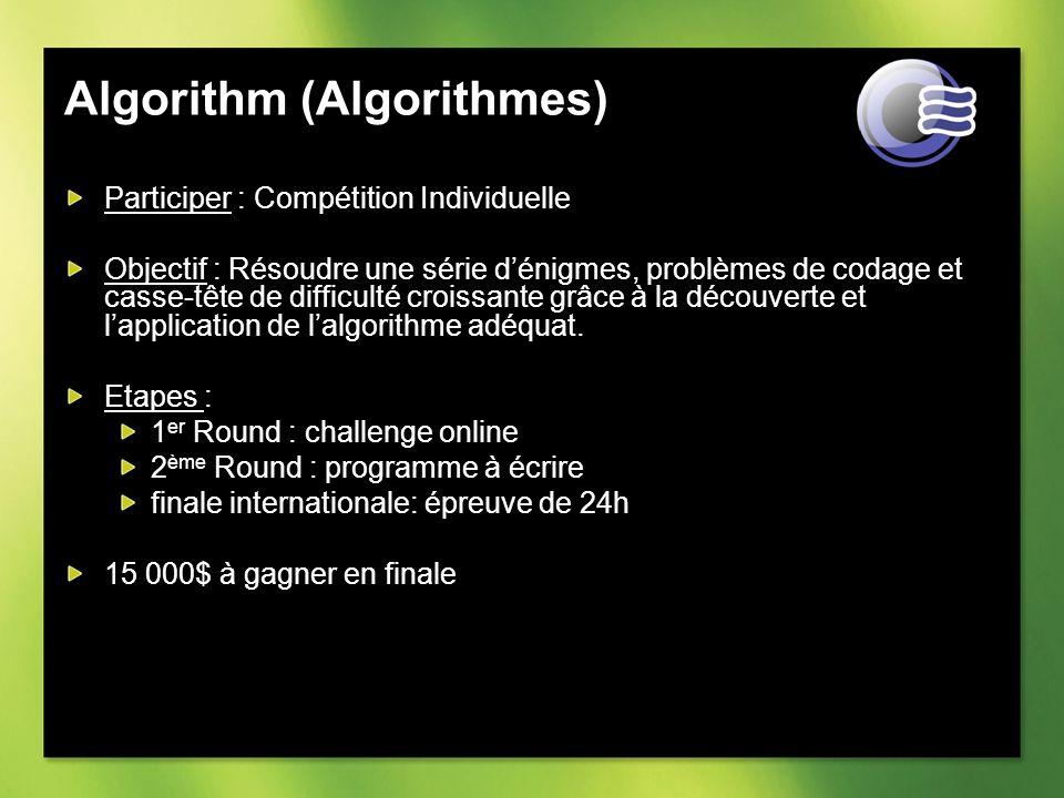 Algorithm (Algorithmes) Participer : Compétition Individuelle Objectif : Résoudre une série dénigmes, problèmes de codage et casse-tête de difficulté croissante grâce à la découverte et lapplication de lalgorithme adéquat.