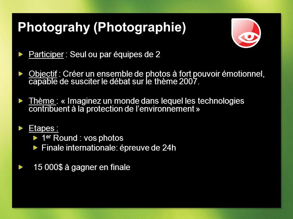 Photograhy (Photographie) Participer : Seul ou par équipes de 2 Objectif : Créer un ensemble de photos à fort pouvoir émotionnel, capable de susciter le débat sur le thème 2007.