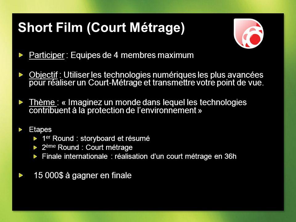 Short Film (Court Métrage) Participer : Equipes de 4 membres maximum Objectif : Utiliser les technologies numériques les plus avancées pour réaliser un Court-Métrage et transmettre votre point de vue.