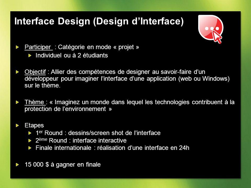 Interface Design (Design dInterface) Participer : Catégorie en mode « projet » Individuel ou à 2 étudiants Objectif : Allier des compétences de designer au savoir-faire dun développeur pour imaginer linterface dune application (web ou Windows) sur le thème.