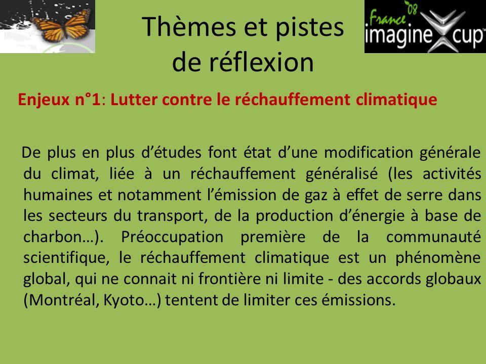 Thèmes et pistes de réflexion Enjeux n°1: Lutter contre le réchauffement climatique De plus en plus détudes font état dune modification générale du climat, liée à un réchauffement généralisé (les activités humaines et notamment lémission de gaz à effet de serre dans les secteurs du transport, de la production dénergie à base de charbon…).