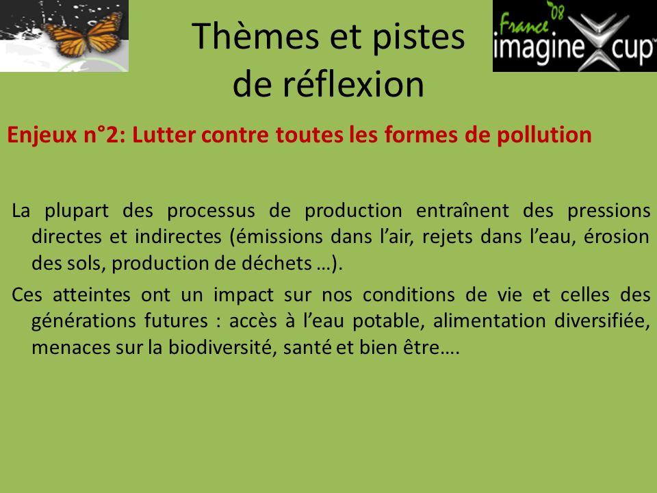 Thèmes et pistes de réflexion Enjeux n°2: Lutter contre toutes les formes de pollution La plupart des processus de production entraînent des pressions directes et indirectes (émissions dans lair, rejets dans leau, érosion des sols, production de déchets …).