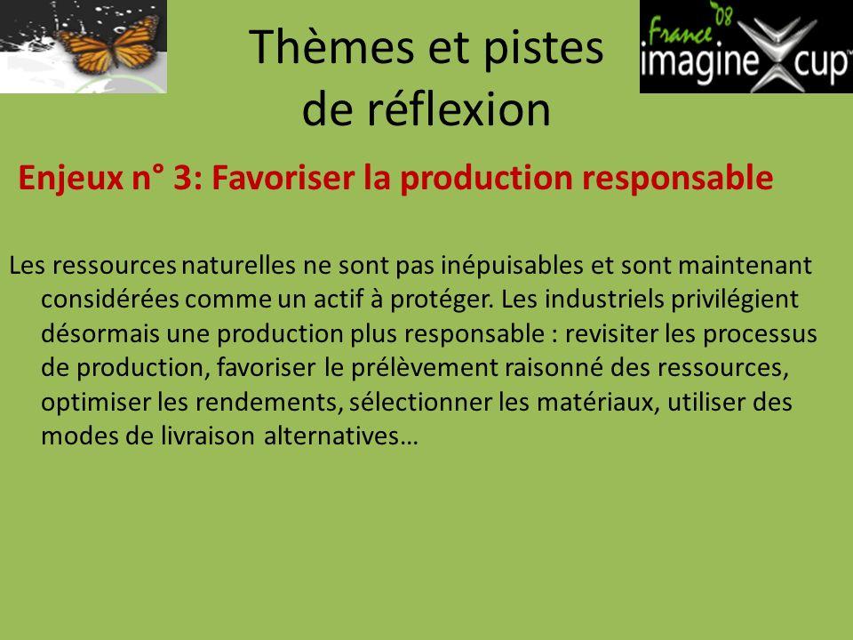 Thèmes et pistes de réflexion Enjeux n° 3: Favoriser la production responsable Les ressources naturelles ne sont pas inépuisables et sont maintenant considérées comme un actif à protéger.