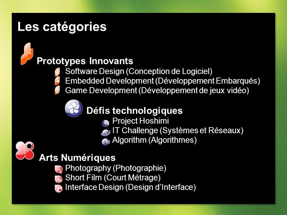 Les catégories Prototypes Innovants Software Design (Conception de Logiciel) Embedded Development (Développement Embarqués) Game Development (Développement de jeux vidéo) Défis technologiques Project Hoshimi IT Challenge (Systèmes et Réseaux) Algorithm (Algorithmes) Arts Numériques Photography (Photographie) Short Film (Court Métrage) Interface Design (Design dInterface)