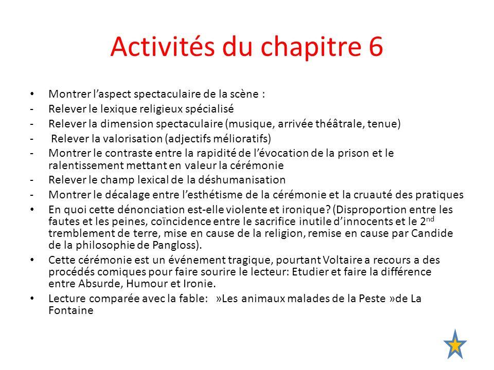 Activités du chapitre 6 Montrer laspect spectaculaire de la scène : -Relever le lexique religieux spécialisé -Relever la dimension spectaculaire (musi