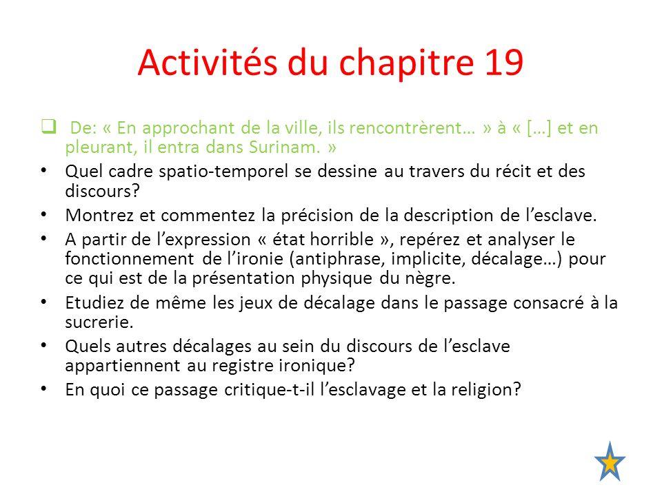 Activités du chapitre 19 De: « En approchant de la ville, ils rencontrèrent… » à « […] et en pleurant, il entra dans Surinam. » Quel cadre spatio-temp