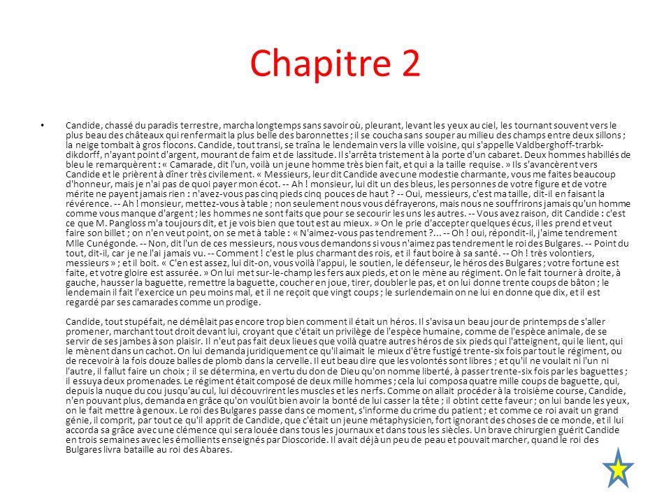 Activités du chapitre 2 (première partie) De : » Candide, chassé du paradis terrestre… » à « […] comme un prodige.