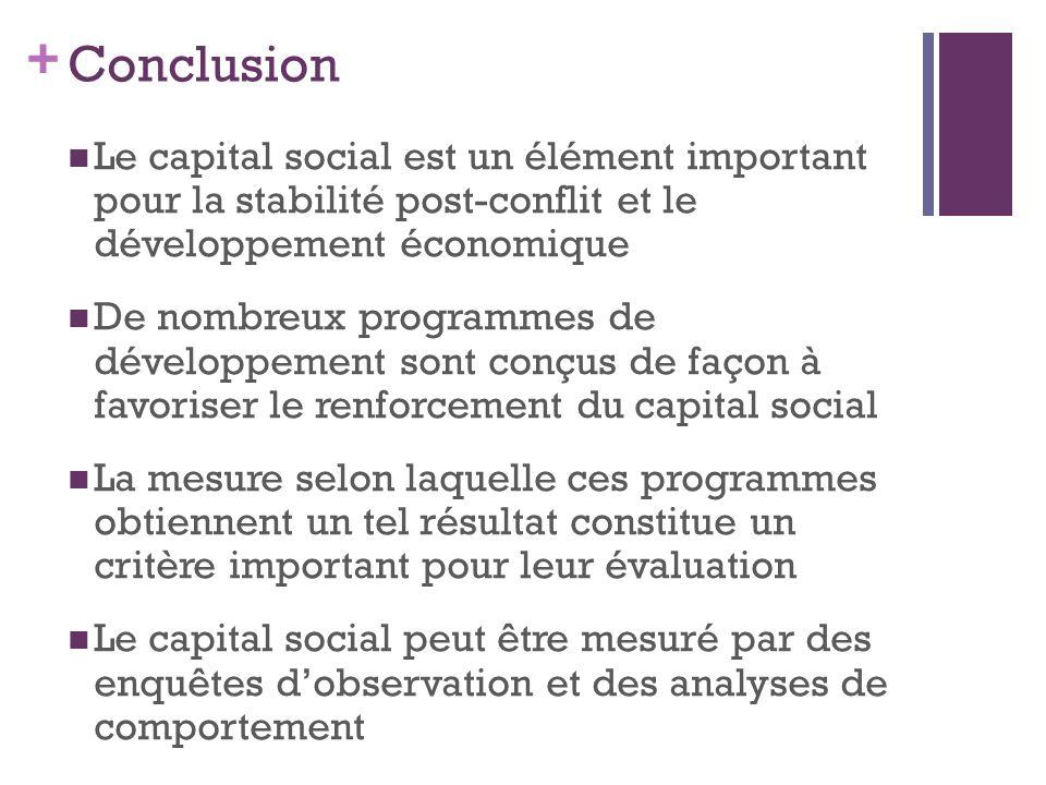 + Conclusion Le capital social est un élément important pour la stabilité post-conflit et le développement économique De nombreux programmes de dévelo
