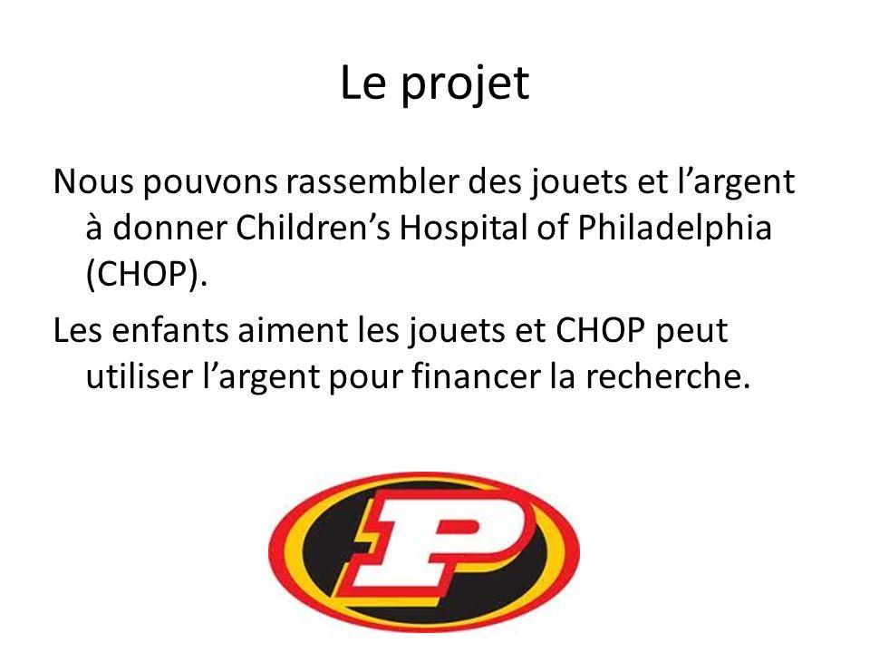 Le projet Nous pouvons rassembler des jouets et largent à donner Childrens Hospital of Philadelphia (CHOP).