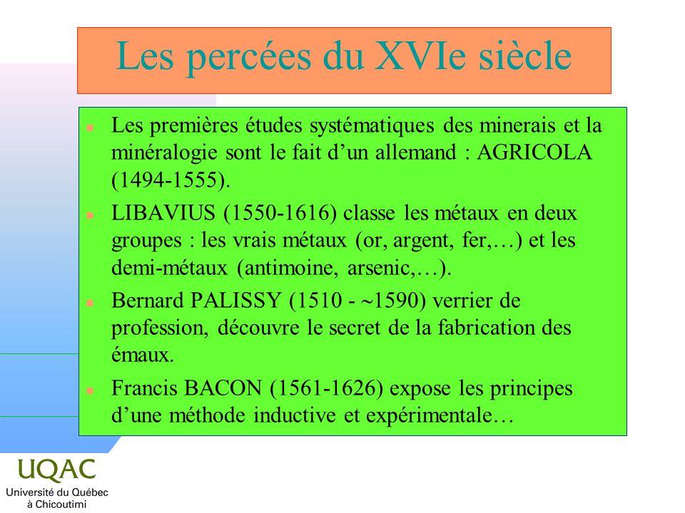 Les percées du XVIe siècle n Les premières études systématiques des minerais et la minéralogie sont le fait dun allemand : AGRICOLA (1494-1555). n LIB