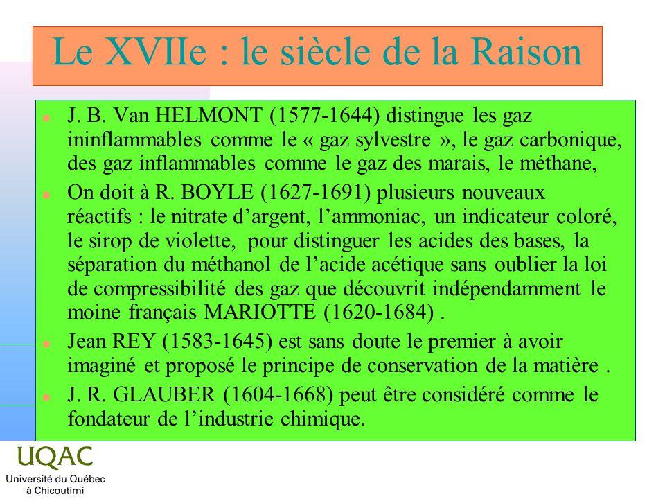 Le XVIIe : le siècle de la Raison n J. B. Van HELMONT (1577-1644) distingue les gaz ininflammables comme le « gaz sylvestre », le gaz carbonique, des
