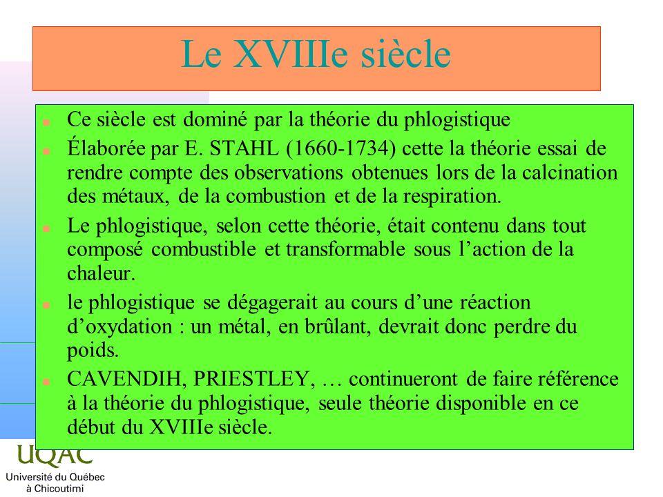 Le XVIIIe siècle n Ce siècle est dominé par la théorie du phlogistique n Élaborée par E. STAHL (1660-1734) cette la théorie essai de rendre compte des