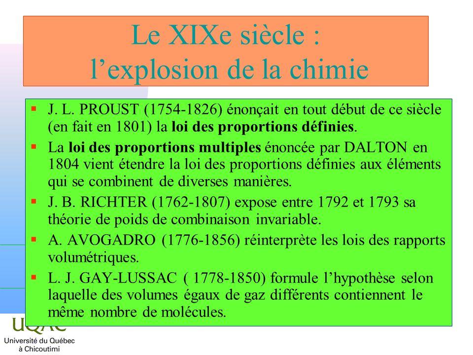 Le XIXe siècle : lexplosion de la chimie J. L. PROUST (1754-1826) énonçait en tout début de ce siècle (en fait en 1801) la loi des proportions définie