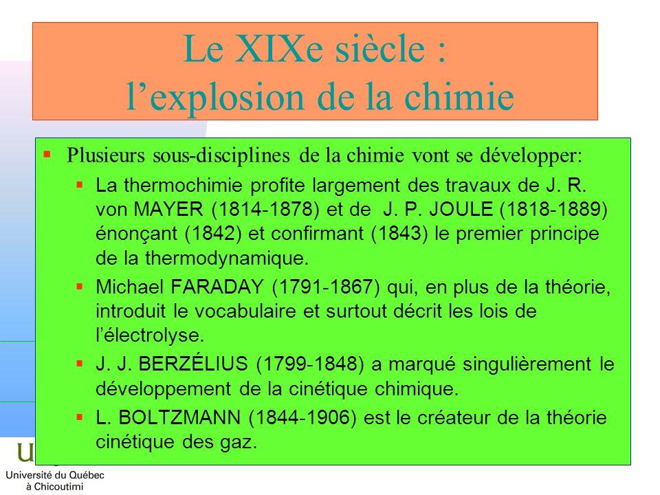 Le XIXe siècle : lexplosion de la chimie Plusieurs sous-disciplines de la chimie vont se développer: La thermochimie profite largement des travaux de