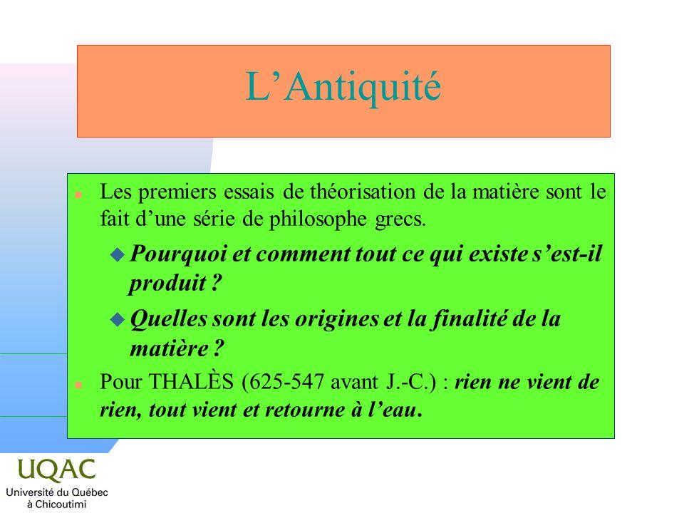 LAntiquité n Les premiers essais de théorisation de la matière sont le fait dune série de philosophe grecs. u Pourquoi et comment tout ce qui existe s
