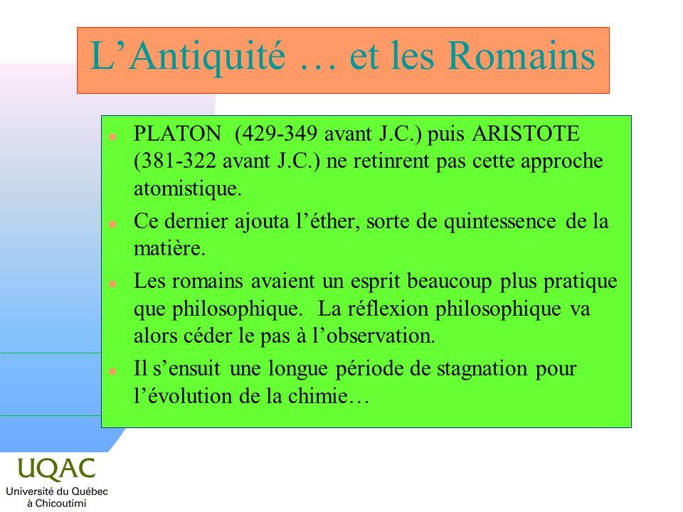 LAntiquité … et les Romains n PLATON (429-349 avant J.C.) puis ARISTOTE (381-322 avant J.C.) ne retinrent pas cette approche atomistique. n Ce dernier
