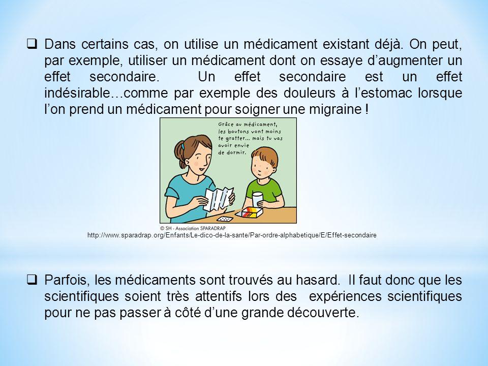 Dans certains cas, on utilise un médicament existant déjà. On peut, par exemple, utiliser un médicament dont on essaye daugmenter un effet secondaire.