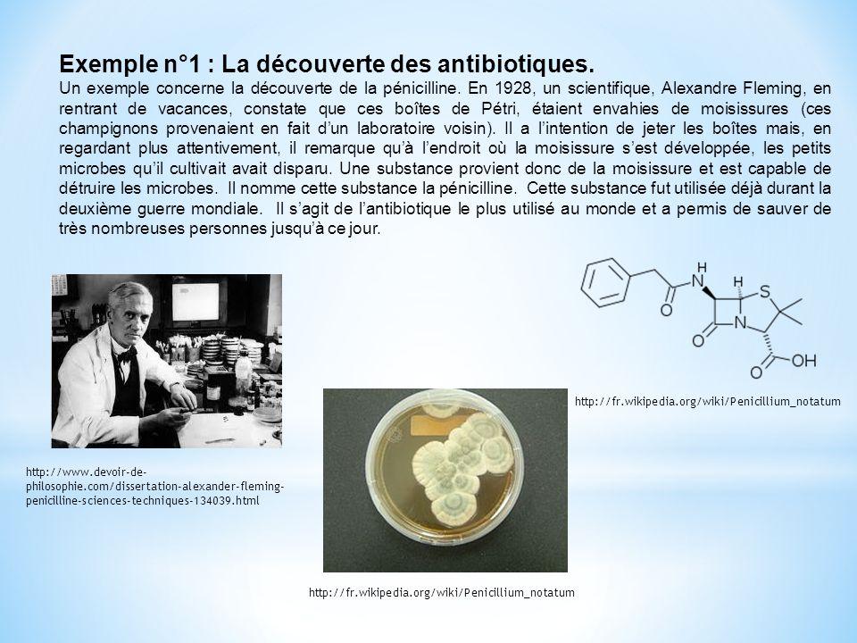 Exemple n°1 : La découverte des antibiotiques. Un exemple concerne la découverte de la pénicilline. En 1928, un scientifique, Alexandre Fleming, en re