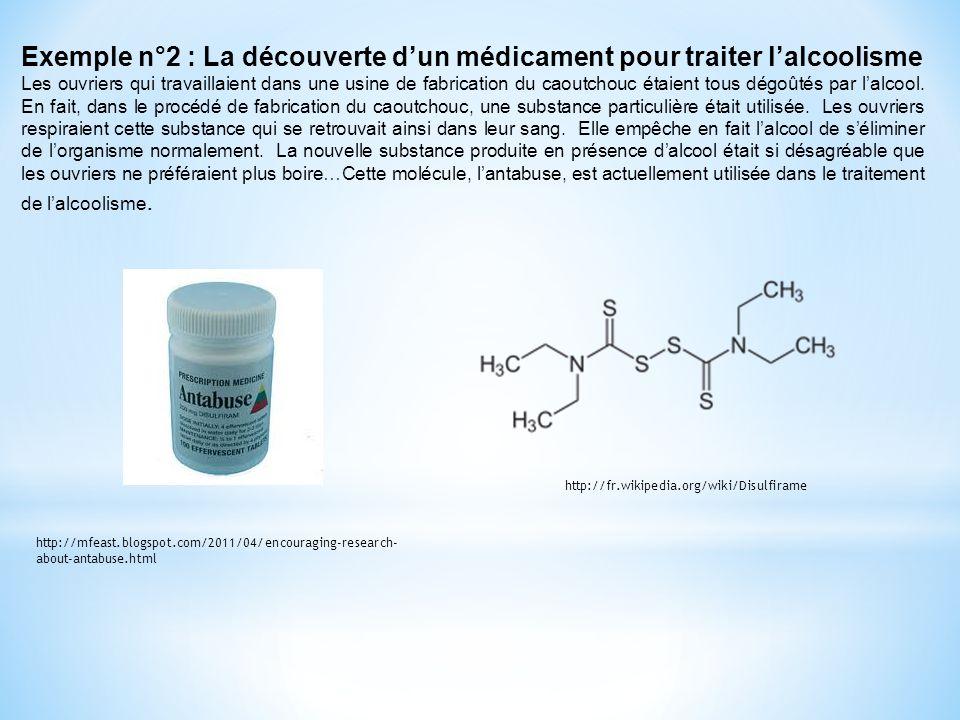 Exemple n°2 : La découverte dun médicament pour traiter lalcoolisme Les ouvriers qui travaillaient dans une usine de fabrication du caoutchouc étaient tous dégoûtés par lalcool.