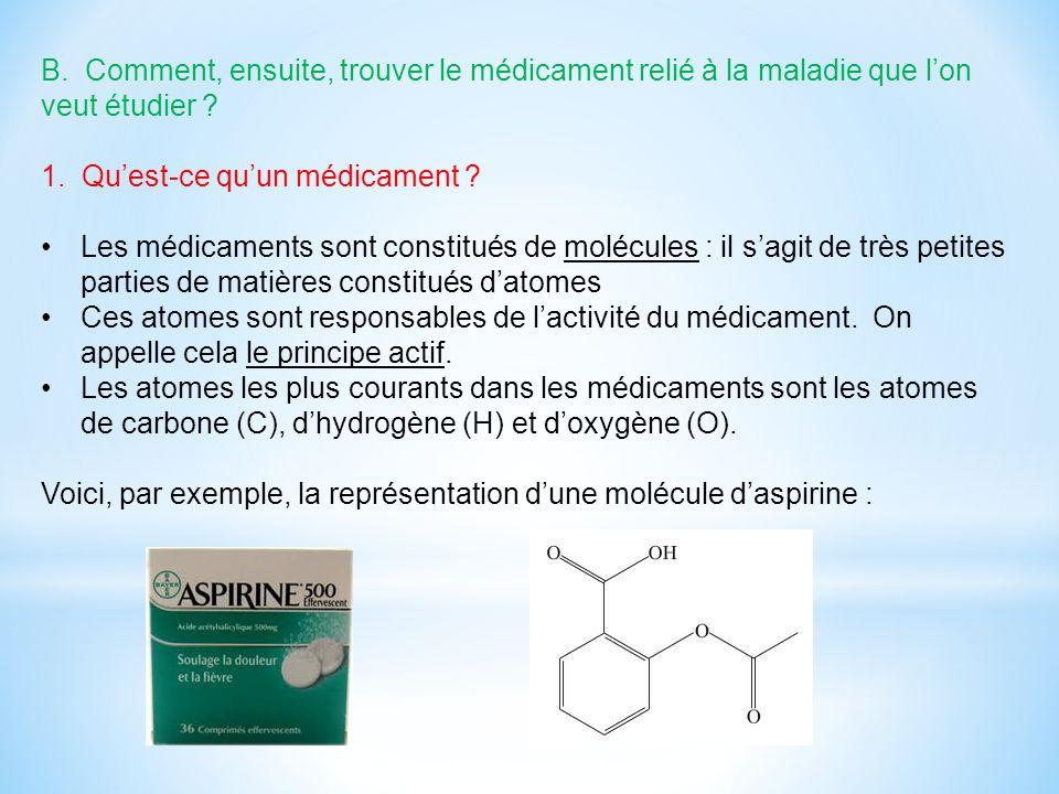 B. Comment, ensuite, trouver le médicament relié à la maladie que lon veut étudier ? 1. Quest-ce quun médicament ? Les médicaments sont constitués de