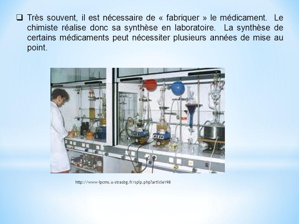 Très souvent, il est nécessaire de « fabriquer » le médicament. Le chimiste réalise donc sa synthèse en laboratoire. La synthèse de certains médicamen
