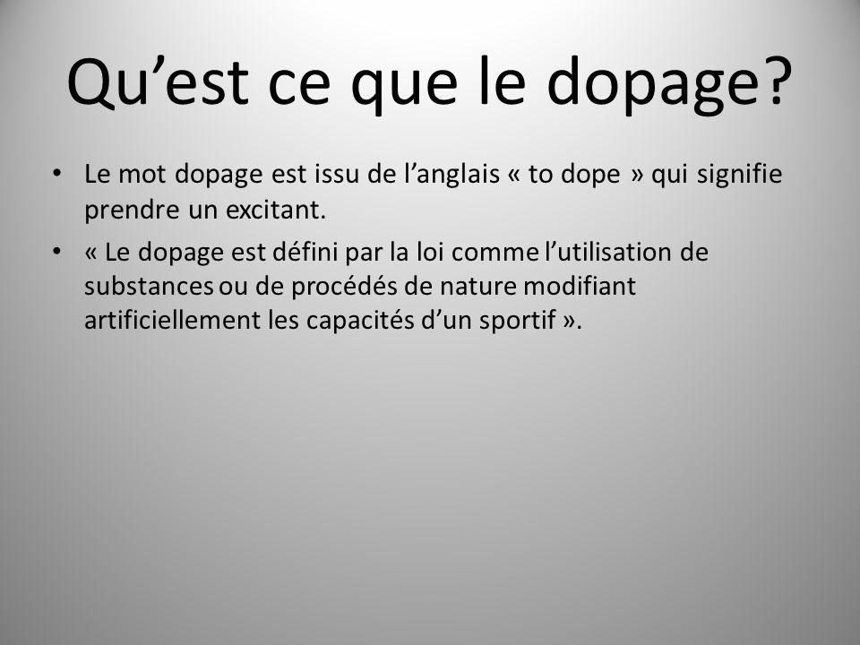 Quest ce que le dopage? Le mot dopage est issu de langlais « to dope » qui signifie prendre un excitant. « Le dopage est défini par la loi comme lutil