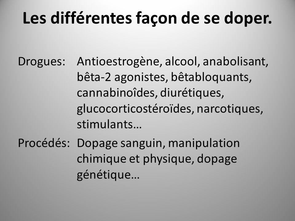 Les différentes façon de se doper. Drogues:Antioestrogène, alcool, anabolisant, bêta-2 agonistes, bêtabloquants, cannabinoîdes, diurétiques, glucocort