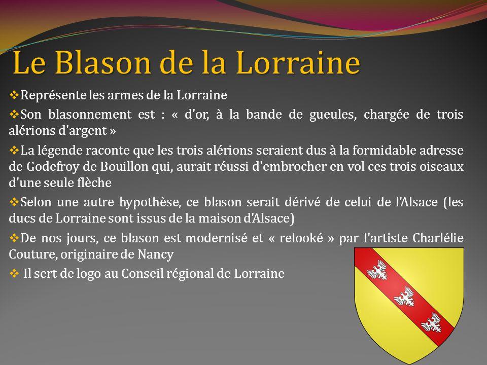 La croix de Lorraine est lemblème le plus connu de la région est un symbole libre de De Gaulle ses deux branches perpendiculaires symbolisent les deux bras du Christ et linscription INRI a été choisie, à loccasion de la Seconde Guerre Mondiale par Émile Muselier Dautres disent que le général De Gaulle laurait choisie pour sa valeur hautement symbolique
