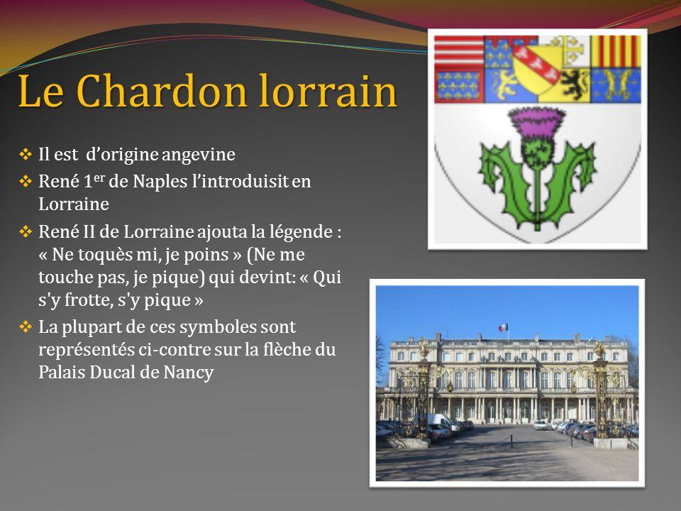 Le Chardon lorrain Il est dorigine angevine René 1 er de Naples lintroduisit en Lorraine René II de Lorraine ajouta la légende : « Ne toquès mi, je poins » (Ne me touche pas, je pique) qui devint: « Qui s y frotte, s y pique » La plupart de ces symboles sont représentés ci-contre sur la flèche du Palais Ducal de Nancy
