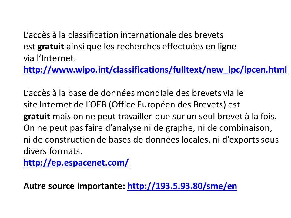 Laccès à la classification internationale des brevets est gratuit ainsi que les recherches effectuées en ligne via lInternet. http://www.wipo.int/clas