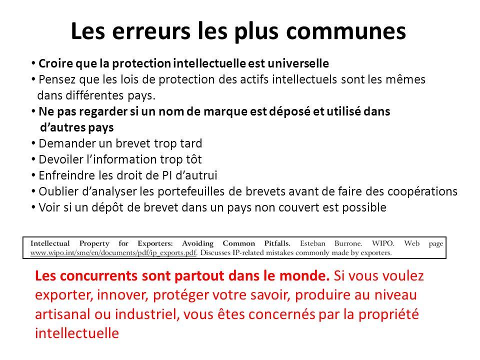 Les erreurs les plus communes Croire que la protection intellectuelle est universelle Pensez que les lois de protection des actifs intellectuels sont