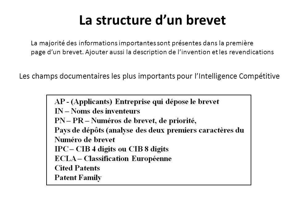 La structure dun brevet La majorité des informations importantes sont présentes dans la première page dun brevet. Ajouter aussi la description de linv