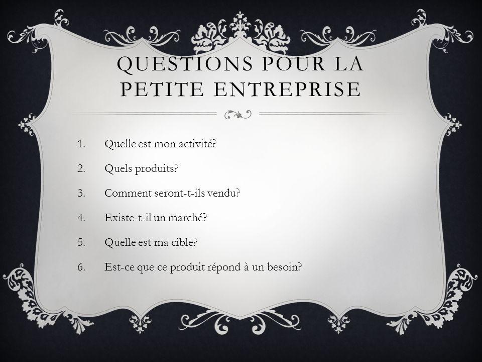 QUESTIONS POUR LA PETITE ENTREPRISE 1.Quelle est mon activité.