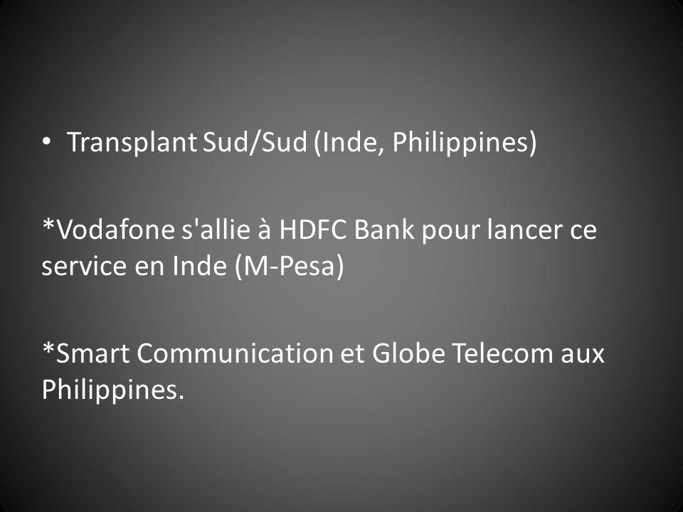Transplant Sud/Sud (Inde, Philippines) *Vodafone s'allie à HDFC Bank pour lancer ce service en Inde (M-Pesa) *Smart Communication et Globe Telecom aux
