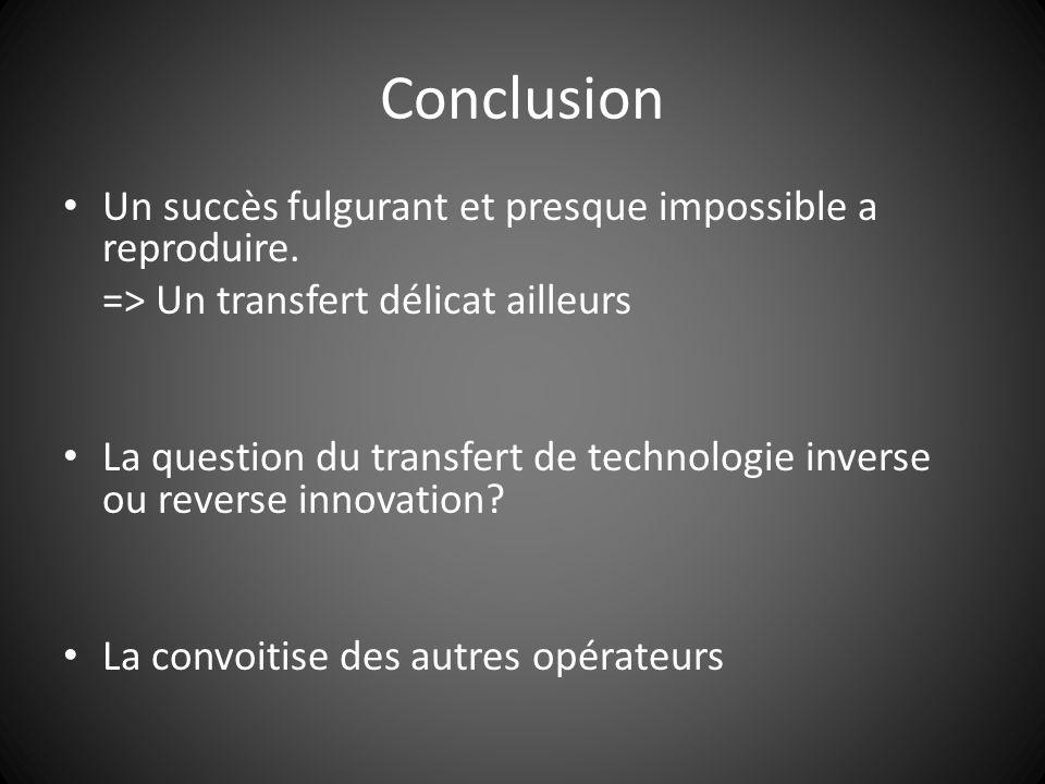 Conclusion Un succès fulgurant et presque impossible a reproduire. => Un transfert délicat ailleurs La question du transfert de technologie inverse ou