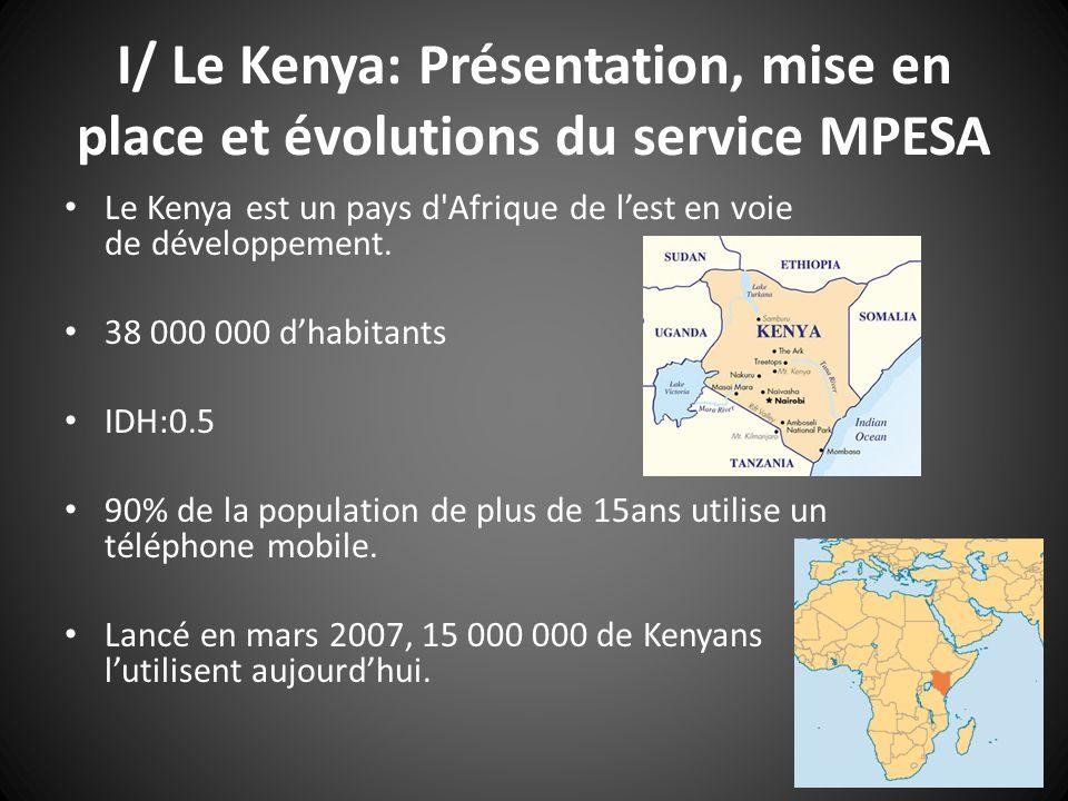 I/ Le Kenya: Présentation, mise en place et évolutions du service MPESA Le Kenya est un pays d'Afrique de lest en voie de développement. 38 000 000 dh
