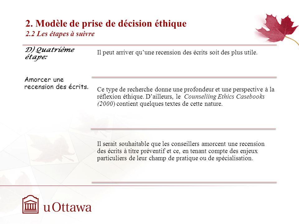 2. Modèle de prise de décision éthique 2.2 Les étapes à suivre EDU 5670 - semaine 3: La prise de décision éthique D) Quatrième étape: Amorcer une rece